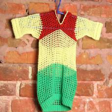 Футболка вязанная трехцветная с капюшоном