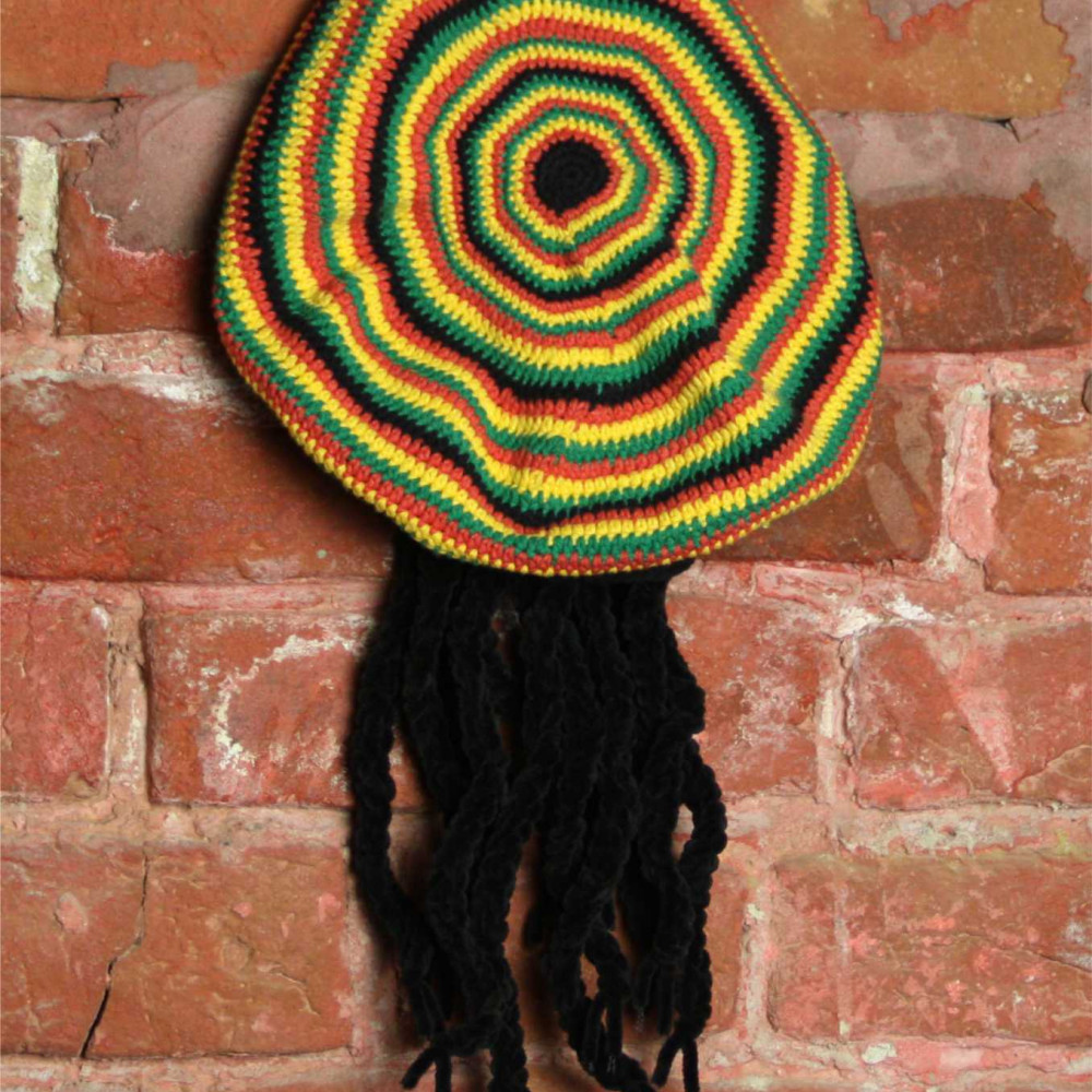 Beret knitted Rasta red-yellow-green-black with dreadlocks model 2
