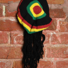 Берет вязаный Раста красно-желто-зелено-черный с дредами модель 3