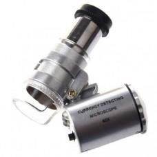Микроскоп 60-ти кратный, карманный с подсветкой